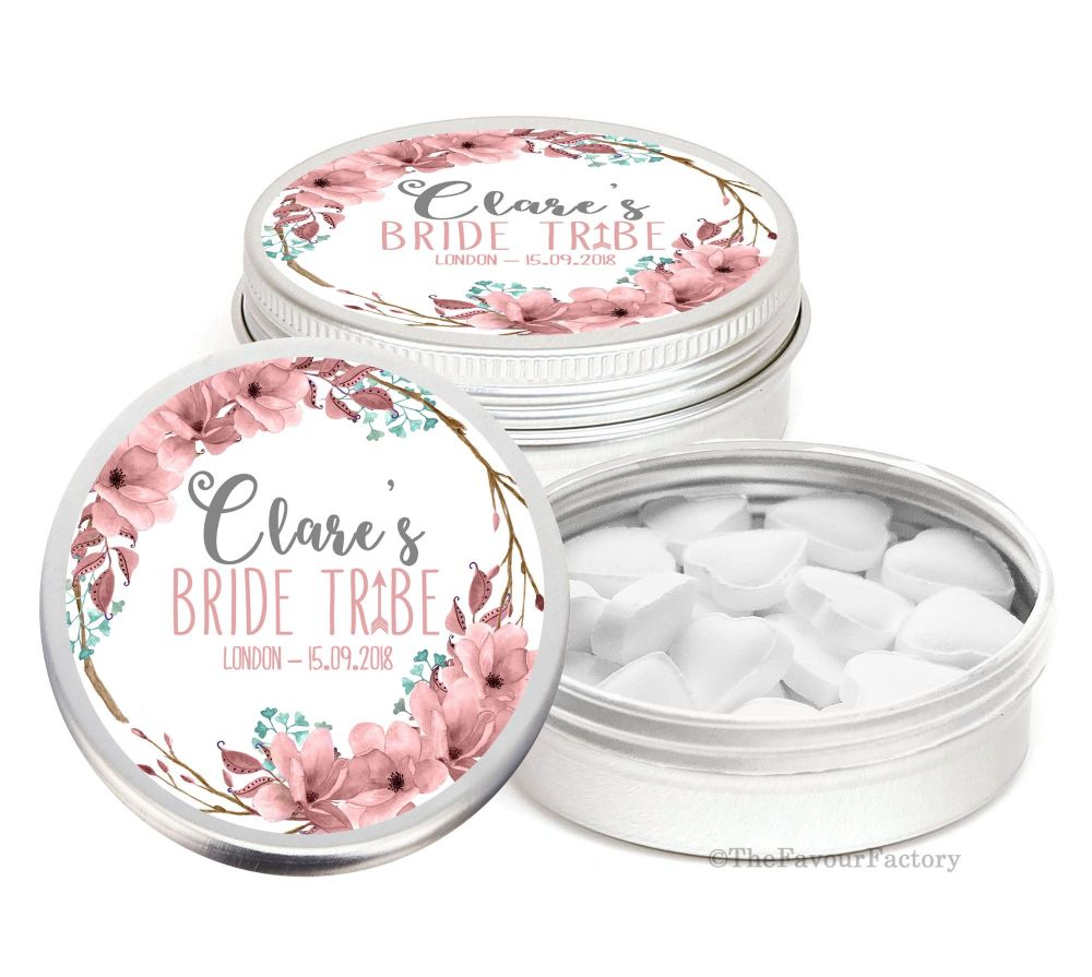 Bride Tribe Boho Floral Personalised Hen Night Party Favour Tins Keepsakes