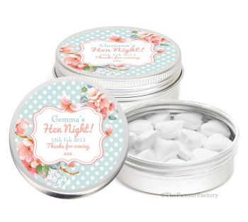 Polka Dot Florals Personalised Hen Night Party Favour Tins Keepsakes x1
