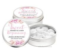 A sweet Ending Floral Personalised Wedding Day favour Tins Keepsakes x1