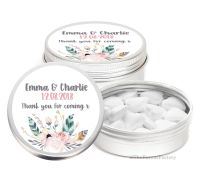 Boho Feather Florals Personalised Wedding Day favour Tins Keepsakes x1