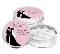 Bride & Groom Personalised Wedding Day favour Tins Keepsakes x1