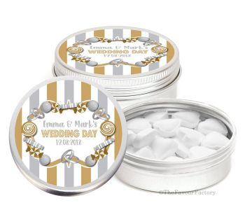 Candy Sweets Theme Personalised Wedding Day favour Tins Keepsakes x1