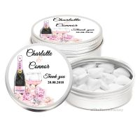Champagne & Flowers Personalised Wedding Day favour Tins Keepsakes x1