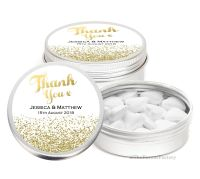 Gold Glitter Confetti Personalised Wedding Day favour Tins Keepsakes x1