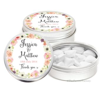 Jessica Florals Personalised Wedding Day favour Tins Keepsakes x1
