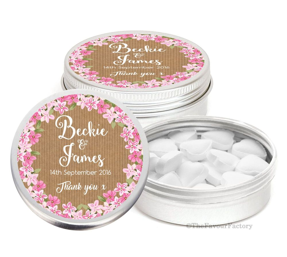 Kraft Floral Wreath Personalised Wedding Day favour Tins Keepsakes x1