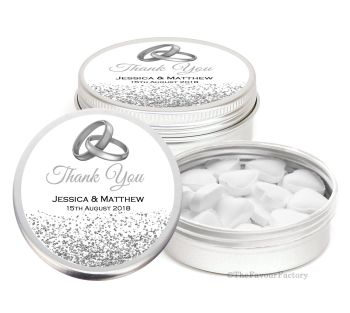 Silver Rings & Glitter Personalised Wedding Day favour Tins Keepsakes x1