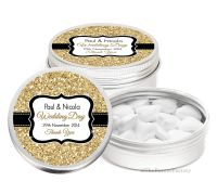 Gold Glitter Effect Personalised Wedding Day favour Tins Keepsakes x1