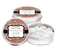 Rose Gold Glitter Effect Personalised Wedding Day favour Tins Keepsakes x1