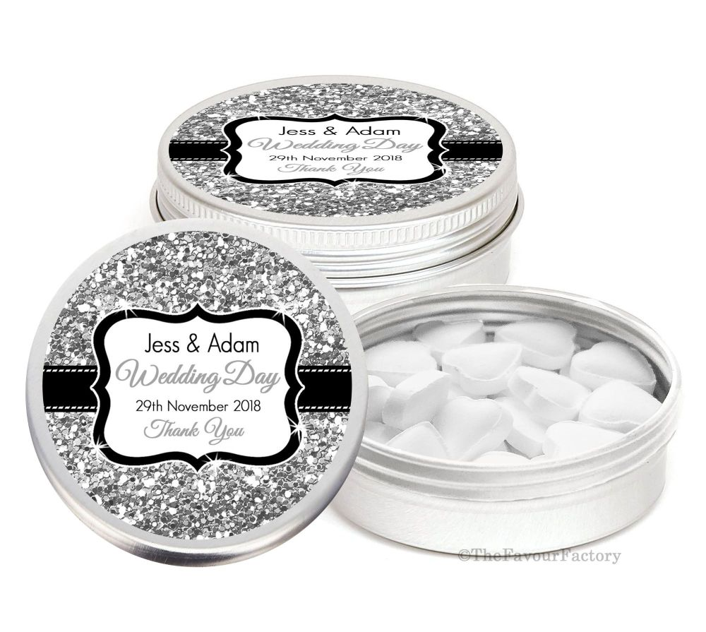 Silver Gold Glitter Effect Personalised Wedding Day favour Tins Keepsakes x