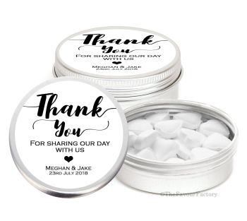 Thank You Personalised Wedding Day favour Tins Keepsakes x1