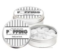 Popping By Stripes Personalised Wedding Day favour Tins Keepsakes x1