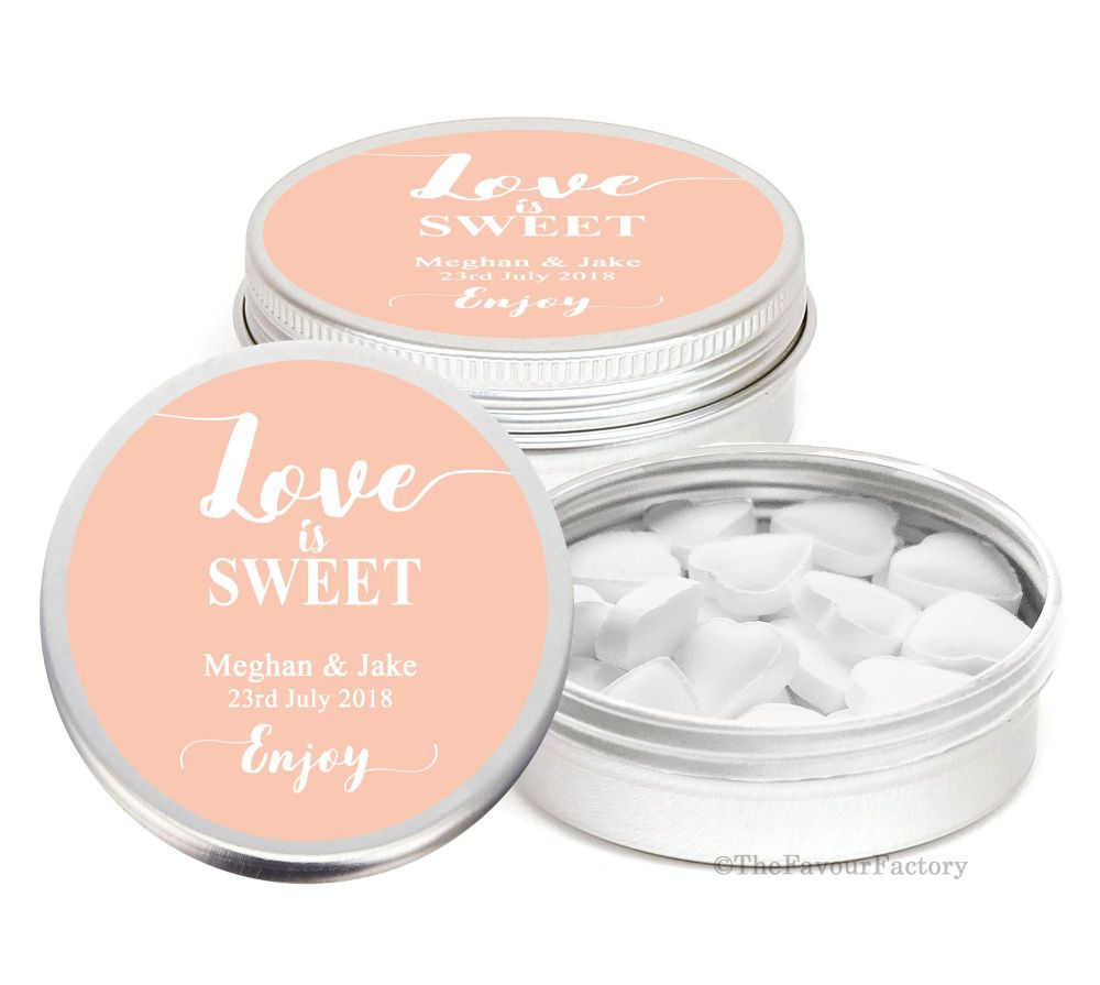 Love is Sweet Personalised Wedding Day favour Tins Keepsakes x1