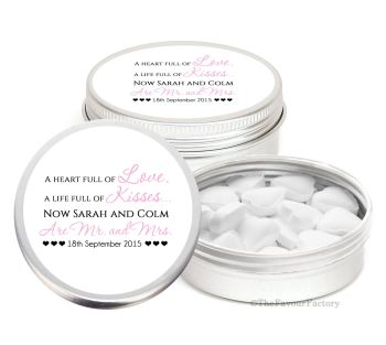 Heart Full of Love Personalised Wedding Day favour Tins Keepsakes x1