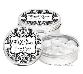 Elegant Personalised Wedding Day favour Tins Keepsakes x1