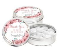 Boho Floral Wreath Personalised Wedding Day favour Tins Keepsakes x1