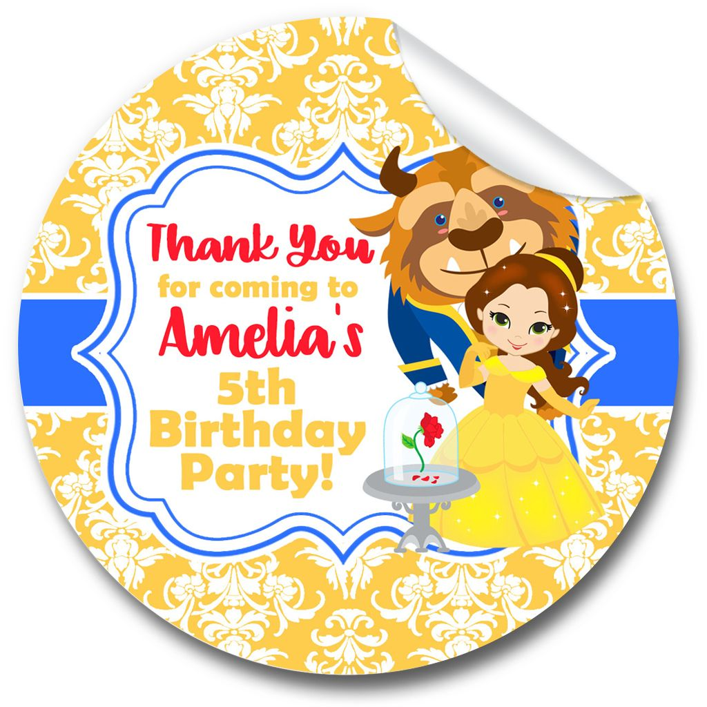 Beauty & the Beast Belle Personalised Birthday party bags sweet cone sticke