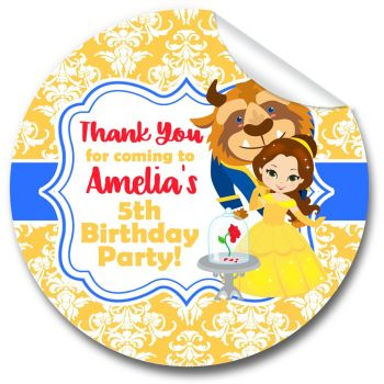 Kids Birthday Party Stickers Labels  Beauty and the Beast