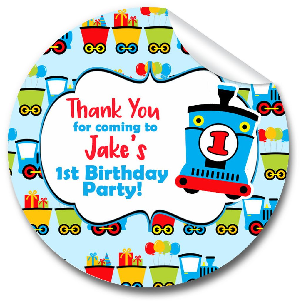 Choo Choo Personalised Birthday party bags stickers 1xA4 sheet