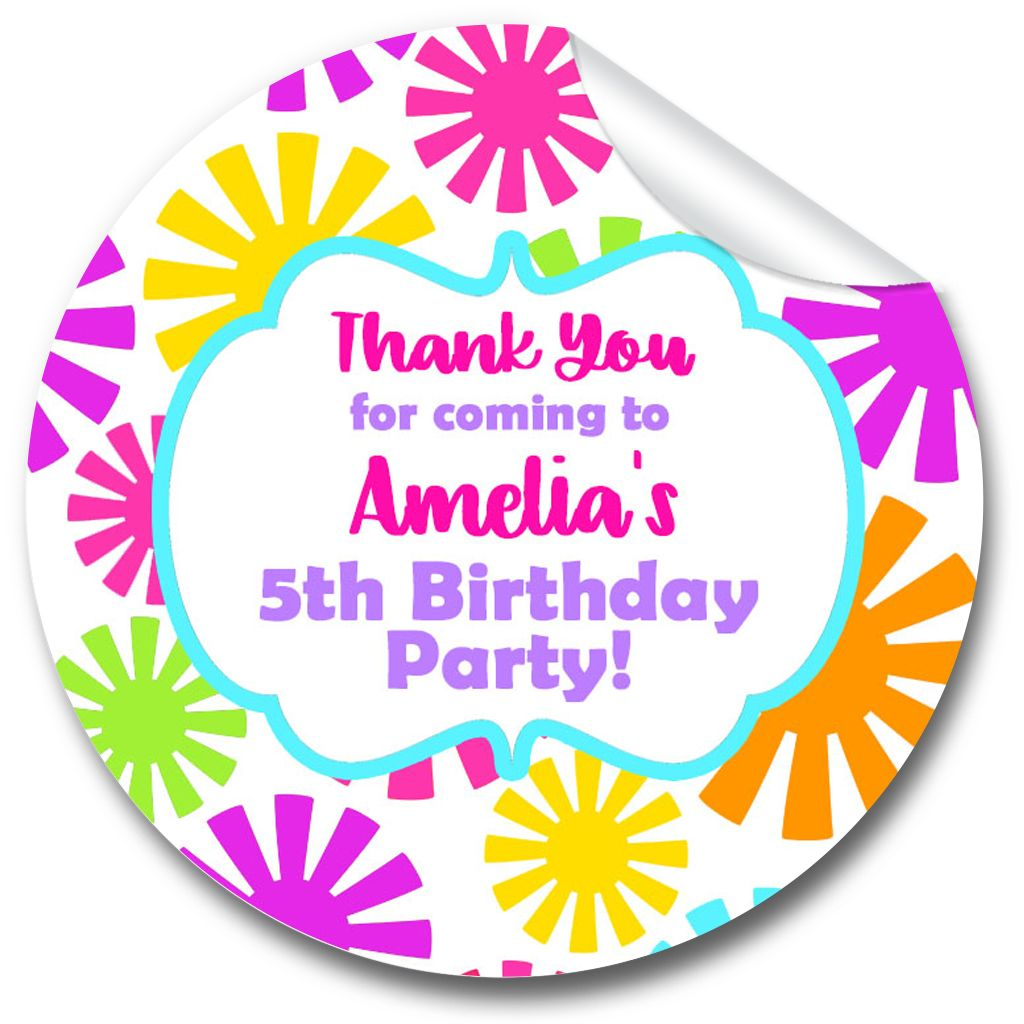 Funky Flowers Personalised Birthday party bags stickers 1xA4 sheet