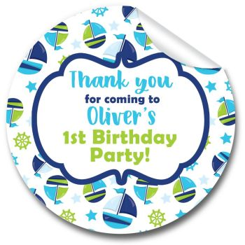 Boats Nautical Personalised Birthday Party Bags Stickers 1x A4 sheet