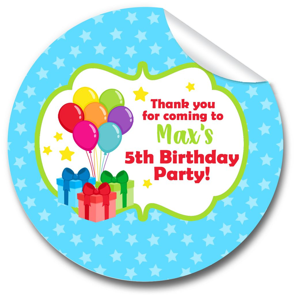 Kids Birthday Party Stickers Labels Bunch of Balloons