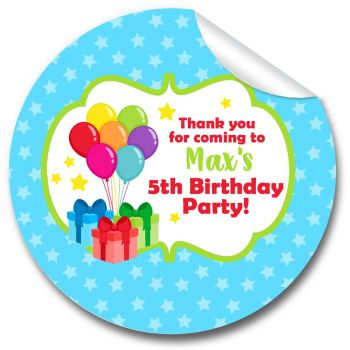 Bunch of Balloons Personalised Birthday Party Bags Sweet Cones Stickers 1xA4 sheet