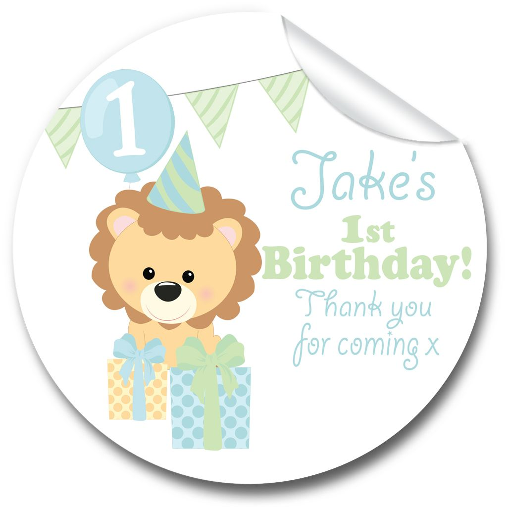 Kids Birthday Party Personalised Stickers Cute Lion with Presents