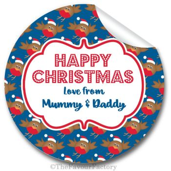 Christmas Gift Tag Stickers Labels Printed Personalised Robins