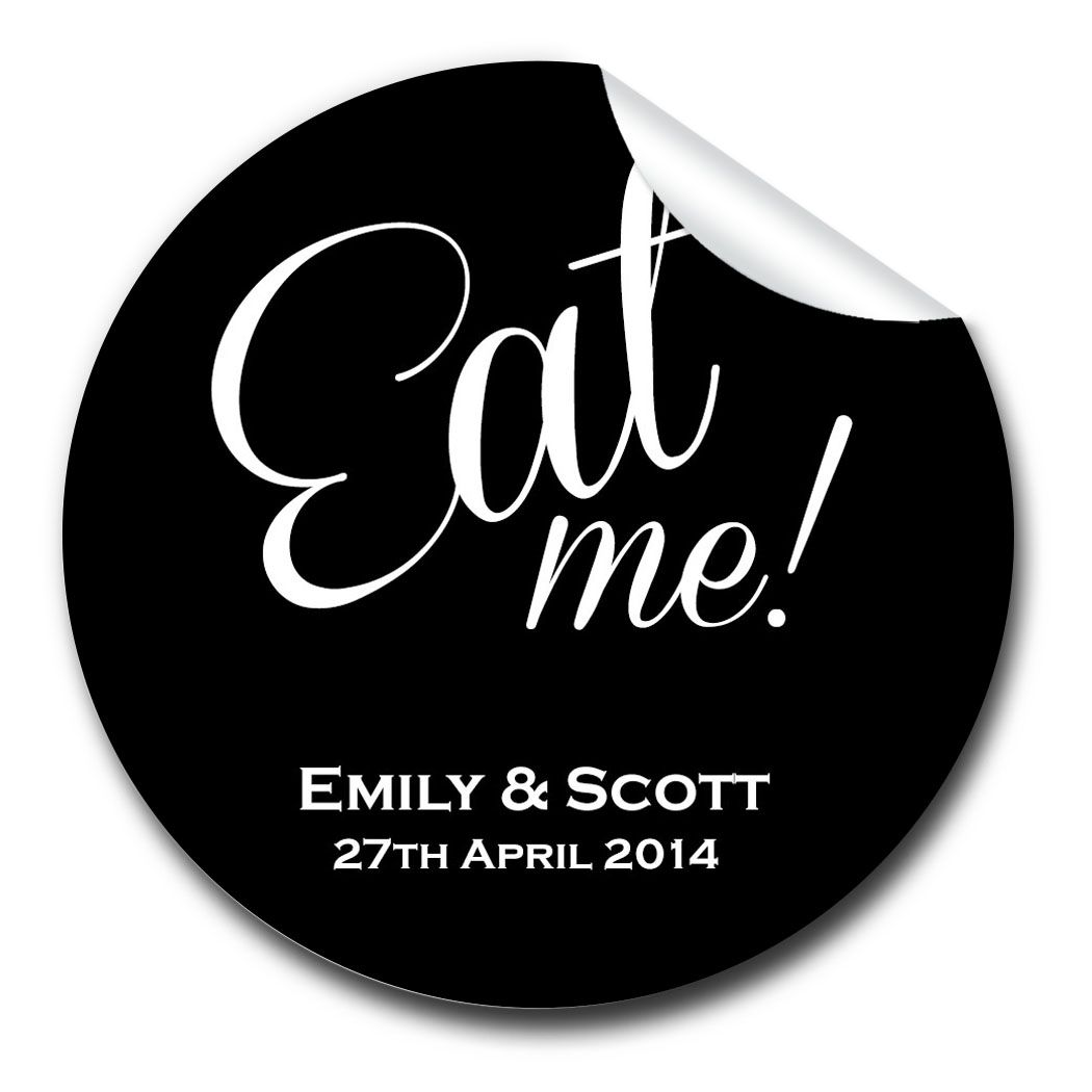 Eat Me Personalised Wedding Favours Stickers (various sizes)
