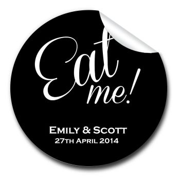 Eat Me Personalised Wedding Favours Stickers