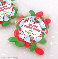Santas Friends Personalised Christmas Sweet Bags Favours Stocking Fillers x12