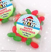 3 Little Penguins Personalised Christmas Sweet Bags Favours Stocking Fillers x12