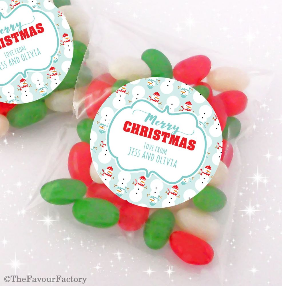 Cosy Snowmen Personalised Christmas Sweet Bags Favours Stocking Fillers x12