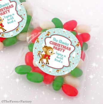 Vintage Reindeer Personalised Christmas Sweet Bags Table Favours Stocking Fillers x12