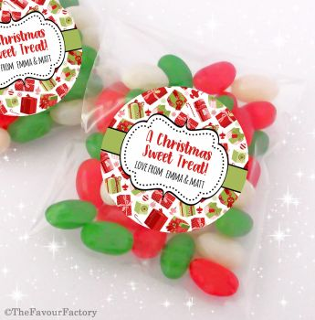 Presents Personalised Christmas Sweet Bags Table Favours Stocking Fillers x12