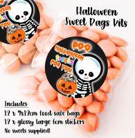 Little Skeleton Personalised Halloween Sweet Bags Trick or Treat Prizes x12
