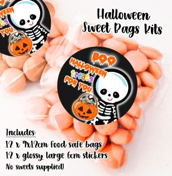 Little Skeleton Personalised Halloween Sweet Bags Trick or Treat Prizes x12