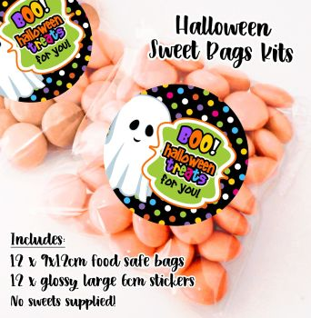 Boo Treats for you Personalised Halloween Sweet Bags Trick or Treat Prizes x12