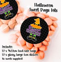 Happy Halloween Hat Personalised Sweet Bags Trick or Treat Prizes x12