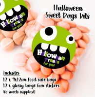 Monster Face Personalised Halloween Sweet Bags Trick or Treat Prizes x12
