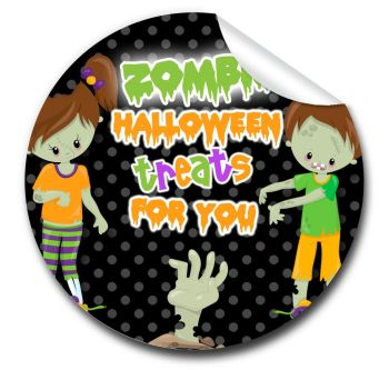 Zombie kids Personalised Halloween Stickers A4 sheet x1