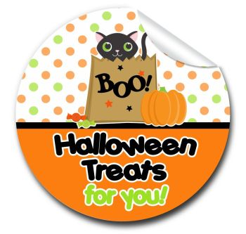 Black cat Personalised Halloween Stickers A4 sheet x1