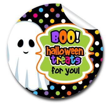Boo Treats Personalised Halloween Stickers A4 sheet x1