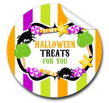 Candy Sweets Personalised Halloween Stickers A4 sheet x1