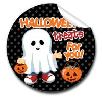 Ghost boy Personalised Halloween Stickers A4 sheet x1