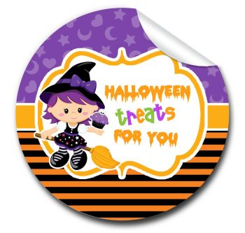 Witch on broomstick Personalised Halloween Stickers A4 sheet x1