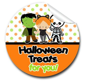 Dress up kids Personalised Halloween Stickers A4 sheet x1