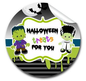 Frankenstein Personalised Halloween Stickers A4 sheet x1