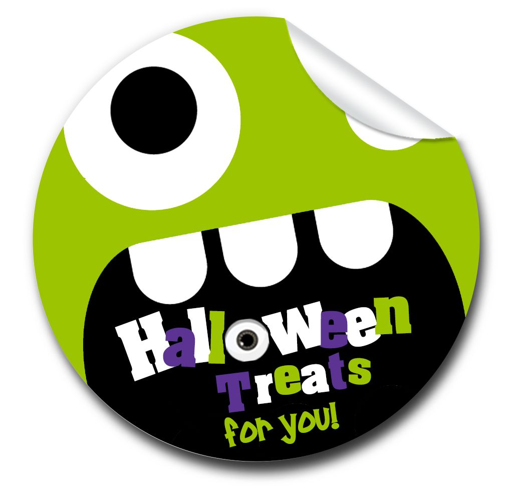 Halloween Stickers Monster Face.